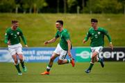 11 May 2018; Troy Parrott of Republic of Ireland, centre, celebrates scoring his side's first goal with Cameron Ledwidge, left, and Barry Coffey during the UEFA U17 Championship Finals Group C match between Bosnia & Herzegovina and Republic of Ireland at St George's Park, in Burton-upon-Trent, England. Photo by Malcolm Couzens/Sportsfile