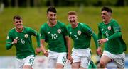 11 May 2018; Troy Parrott, 10, of Republic of Ireland celebrates scoring his side's first goal with teammates from left, Jason Knight, Cameron Ledwidge and Barry Coffey during the UEFA U17 Championship Finals Group C match between Bosnia & Herzegovina and Republic of Ireland at St George's Park, in Burton-upon-Trent, England. Photo by Malcolm Couzens/Sportsfile
