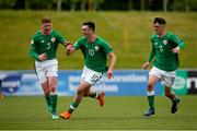 11 May 2018; Troy Parrott centre, of Republic of Ireland celebrates scoring his side's first goal with Cameron Ledwidge, left, and Barry Coffey during the UEFA U17 Championship Finals Group C match between Bosnia & Herzegovina and Republic of Ireland at St George's Park, in Burton-upon-Trent, England. Photo by Malcolm Couzens/Sportsfile