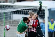 11 May 2018; Graham Cummins of Cork City in action in the box against Ronan Curtis and Gerard Doherty of Derry City  during the SSE Airtricity League Premier Division match between Derry City and Cork City at Brandywell Stadium, in Derry. Photo by Oliver McVeigh/Sportsfile