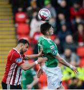 11 May 2018; Graham Cummins of Cork City in action against Darren Cole of Derry City during the SSE Airtricity League Premier Division match between Derry City and Cork City at Brandywell Stadium, in Derry. Photo by Oliver McVeigh/Sportsfile