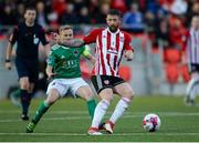 11 May 2018; Rory Patterson of Derry City in action against Conor McCormack of Cork City during the SSE Airtricity League Premier Division match between Derry City and Cork City at Brandywell Stadium, in Derry. Photo by Oliver McVeigh/Sportsfile