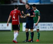 11 May 2018; Referee Paul McLoughlin speaks with Aaron McEneff of Derry City after he issued him with a yellow card during the SSE Airtricity League Premier Division match between Derry City and Cork City at Brandywell Stadium, in Derry. Photo by Oliver McVeigh/Sportsfile
