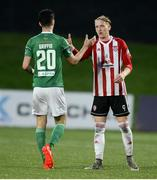 11 May 2018; Shane Griffin of Cork City and Ronan Curtis of Derry City shake hands at the final whistle in the SSE Airtricity League Premier Division match between Derry City and Cork City at Brandywell Stadium, in Derry. Photo by Oliver McVeigh/Sportsfile