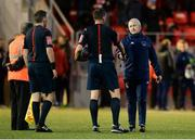 11 May 2018; Cork City manager John Caulfield shakes hands with referee Paul McLoughlin after the SSE Airtricity League Premier Division match between Derry City and Cork City at Brandywell Stadium, in Derry. Photo by Oliver McVeigh/Sportsfile