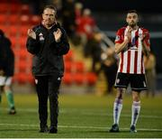 11 May 2018; Derry City manager Kenny Shiels, left, and Nathan Boyle of Derry City after the SSE Airtricity League Premier Division match between Derry City and Cork City at Brandywell Stadium, in Derry. Photo by Oliver McVeigh/Sportsfile