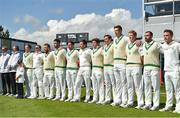 12 May 2018; Ireland players during the national anthem prior to play on day two of the International Cricket Test match between Ireland and Pakistan at Malahide, in Co. Dublin. Photo by Seb Daly/Sportsfile