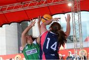 12 May 2018; Erin Bracken of Liffey Celtics, Leixlip, in action against Sheila Sheehy of Marble City Hawks, Thomastown, during #HulaHoops3x3 Ireland's first outdoor 3x3 Basketball championship brought to you by Hula Hoops and Basketball Ireland at Dundrum Town Centre in Dundrum, Dublin. Photo by Piaras Ó Mídheach/Sportsfile