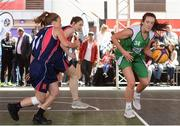 12 May 2018; Aine O'Connor of Liffey Celtics, Leixlip, in action against Katie Fox of Marble City Hawks, Thomastown, during #HulaHoops3x3 Ireland's first outdoor 3x3 Basketball championship brought to you by Hula Hoops and Basketball Ireland at Dundrum Town Centre in Dundrum, Dublin. Photo by Piaras Ó Mídheach/Sportsfile