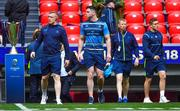 12 May 2018; From left, Dan Leavy, James Ryan, Head coach Leo Cullen and Jordan Larmour prior to the European Rugby Champions Cup Final match between Leinster and Racing 92 at the San Mames Stadium in Bilbao, Spain. Photo by Brendan Moran/Sportsfile