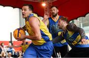 12 May 2018; Martins Provizors of DCU gets past Mario Markowicz, centre, and Mike Garrow of UCD Marian during #HulaHoops3x3 Ireland's first outdoor 3x3 Basketball championship brought to you by Hula Hoops and Basketball Ireland at Dundrum Town Centre in Dundrum, Dublin. Photo by Piaras Ó Mídheach/Sportsfile