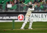 12 May 2018; Faheem Ashraf of Pakistan plays a shot, off a delivery from Tyrone Kane, during day two of the International Cricket Test match between Ireland and Pakistan at Malahide, in Co. Dublin. Photo by Seb Daly/Sportsfile