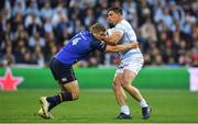 12 May 2018; Camille Chat of Racing 92 is tackled by Jordan Larmour of Leinster during the European Rugby Champions Cup Final match between Leinster and Racing 92 at the San Mames Stadium in Bilbao, Spain. Photo by Brendan Moran/Sportsfile