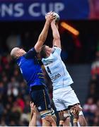 12 May 2018; Devin Toner of Leinster in action against Donnacha Ryan of Racing 92 during the European Rugby Champions Cup Final match between Leinster and Racing 92 at the San Mames Stadium in Bilbao, Spain. Photo by Ramsey Cardy/Sportsfile