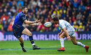 12 May 2018; Robbie Henshaw of Leinster in action against Teddy Iribaren of Racing 92 during the European Rugby Champions Cup Final match between Leinster and Racing 92 at the San Mames Stadium in Bilbao, Spain. Photo by Ramsey Cardy/Sportsfile