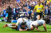 12 May 2018; Isa Nacewa of Leinster is tackled by Donnacha Ryan, left, and Henry Chavancy of Racing 92 during the European Rugby Champions Cup Final match between Leinster and Racing 92 at the San Mames Stadium in Bilbao, Spain. Photo by Ramsey Cardy/Sportsfile