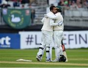 12 May 2018; Faheem Ashraf of Pakistan, left, is congratulated by team-mate Shadab Khan after bringing up his half century during day two of the International Cricket Test match between Ireland and Pakistan at Malahide, in Co. Dublin. Photo by Seb Daly/Sportsfile