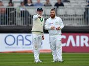 12 May 2018; Ireland captain William Porterfield, left, and Paul Stirling during day two of the International Cricket Test match between Ireland and Pakistan at Malahide, in Co. Dublin. Photo by Seb Daly/Sportsfile