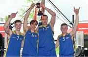 12 May 2018; DCU players, from left, Graham Brannelly, Conor Gilligan, Martins Provizors, and Shane Davidson celebrate after winning the men's competition at the #HulaHoops3x3 Ireland's first outdoor 3x3 Basketball championship brought to you by Hula Hoops and Basketball Ireland at Dundrum Town Centre in Dundrum, Dublin. Photo by Piaras Ó Mídheach/Sportsfile