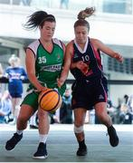 12 May 2018; Erin Bracken of Liffey Celtics, Leixlip, left, in action against Katie Fox of Marble City Hawks, Thomastown, during #HulaHoops3x3 Ireland's first outdoor 3x3 Basketball championship brought to you by Hula Hoops and Basketball Ireland at Dundrum Town Centre in Dundrum, Dublin. Photo by Piaras Ó Mídheach/Sportsfile