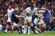 12 May 2018; Virimi Vakatawa of Racing 92 is tackled by Robbie Henshaw, left, and Jonathan Sexton of Leinster during the European Rugby Champions Cup Final match between Leinster and Racing 92 at the San Mames Stadium in Bilbao, Spain. Photo by Brendan Moran/Sportsfile