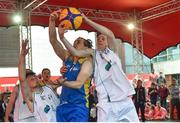 12 May 2018; Conor Gilligan of DCU in action against Patrick Lyons, left, and Kyle Cunningham of Moycullen, Galway, during #HulaHoops3x3 Ireland's first outdoor 3x3 Basketball championship brought to you by Hula Hoops and Basketball Ireland at Dundrum Town Centre in Dundrum, Dublin. Photo by Piaras Ó Mídheach/Sportsfile