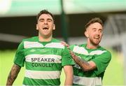 12 May 2018; Carl Forsyth, left, of Firhouse Clover celebrates after scoring his side's first goal  during the FAI New Balance Intermediate Cup Final match between Firhouse Clover and Maynooth University Town at the Aviva Stadium in Dublin. Photo by Eóin Noonan/Sportsfile