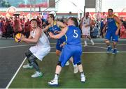 12 May 2018; Patrick Lyons of Moycullen, Galway, in action against Conor Gilligan, centre, and Shane Davidson of DCU during #HulaHoops3x3 Ireland's first outdoor 3x3 Basketball championship brought to you by Hula Hoops and Basketball Ireland at Dundrum Town Centre in Dundrum, Dublin. Photo by Piaras Ó Mídheach/Sportsfile
