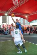 12 May 2018; Graham Brannelly of DCU in action against Patrick Lyons of Moycullen, Galway, during #HulaHoops3x3 Ireland's first outdoor 3x3 Basketball championship brought to you by Hula Hoops and Basketball Ireland at Dundrum Town Centre in Dundrum, Dublin. Photo by Piaras Ó Mídheach/Sportsfile