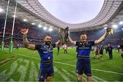 12 May 2018; Isa Nacewa, left, and Jonathan Sexton of Leinster lift the Cup and celebrate after the European Rugby Champions Cup Final match between Leinster and Racing 92 at the San Mames Stadium in Bilbao, Spain. Photo by Ramsey Cardy/Sportsfile