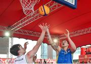 12 May 2018; Martins Provizors of DCU in action against Patrick Lyons of Moycullen, Galway, during #HulaHoops3x3 Ireland's first outdoor 3x3 Basketball championship brought to you by Hula Hoops and Basketball Ireland at Dundrum Town Centre in Dundrum, Dublin. Photo by Piaras Ó Mídheach/Sportsfile
