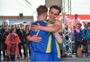 12 May 2018; DCU's Conor Gilligan, behind, and Graham Brannelly celebrate after the men's final at #HulaHoops3x3 Ireland's first outdoor 3x3 Basketball championship brought to you by Hula Hoops and Basketball Ireland at Dundrum Town Centre in Dundrum, Dublin. Photo by Piaras Ó Mídheach/Sportsfile