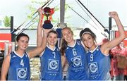 12 May 2018; Ambassador UCC Glanmire, Cork, players, from left, Aine McKenna, Claire Rockall, Casey Grace, and  Grainne Dwyer celebrate after the women's final at #HulaHoops3x3 Ireland's first outdoor 3x3 Basketball championship brought to you by Hula Hoops and Basketball Ireland at Dundrum Town Centre in Dundrum, Dublin. Photo by Piaras Ó Mídheach/Sportsfile