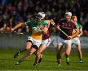 12 May 2018; Joe Bergin of Offaly in action against Daithí Burke and Gearóid McInerney of Galway during the Leinster GAA Hurling Senior Championship First Round match between Offaly and Galway at Bord na Mona O'Connor Park in Tullamore, Offaly. Photo by Ray McManus/Sportsfile