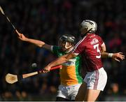 12 May 2018; Joe Bergin of Offaly in action against Daithí Burke of Galway during the Leinster GAA Hurling Senior Championship First Round match between Offaly and Galway at Bord na Mona O'Connor Park in Tullamore, Offaly. Photo by Ray McManus/Sportsfile