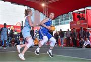 12 May 2018; Claire Rockall of Ambassador UCC Glanmire, Cork, in action against Sarah Woods of DCU Mercy during #HulaHoops3x3 Ireland's first outdoor 3x3 Basketball championship brought to you by Hula Hoops and Basketball Ireland at Dundrum Town Centre in Dundrum, Dublin. Photo by Piaras Ó Mídheach/Sportsfile