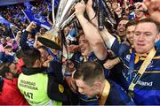 12 May 2018; Dan Leavy of Leinster and team-mates Ross Byrne and Rory O'Loughlin celebrate with the cup amongst fans after the European Rugby Champions Cup Final match between Leinster and Racing 92 at the San Mames Stadium in Bilbao, Spain. Photo by Brendan Moran/Sportsfile