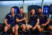 12 May 2018; Leinster players, from left, Rory O'Loughlin, Robbie Henshaw, Garry Ringrose and Isa Nacewa celebrate with the cup in the dressing room after the European Rugby Champions Cup Final match between Leinster and Racing 92 at the San Mames Stadium in Bilbao, Spain. Photo by Ramsey Cardy/Sportsfile