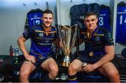 12 May 2018; Robbie Henshaw, left, and Garry Ringrose of Leinster celebrate with the cup in the dressing room after the European Rugby Champions Cup Final match between Leinster and Racing 92 at the San Mames Stadium in Bilbao, Spain. Photo by Ramsey Cardy/Sportsfile