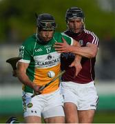 12 May 2018; Dan Currams of Offaly in action against Aidan Harte of Galway during the Leinster GAA Hurling Senior Championship First Round match between Offaly and Galway at Bord na Mona O'Connor Park in Tullamore, Offaly. Photo by Ray McManus/Sportsfile