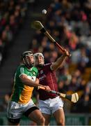 12 May 2018; Joe Bergin of Offaly in action against Daithi Burke of Galway during the Leinster GAA Hurling Senior Championship First Round match between Offaly and Galway at Bord na Mona O'Connor Park in Tullamore, Offaly. Photo by Ray McManus/Sportsfile