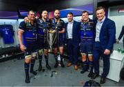 12 May 2018; Leinster players, from left, Rhys Ruddock, Jack Conan, Scott Fardy, Sean O'Brien, Jordi Murphy and Josh van der Flier celebrate with the cup in the dressing room after the European Rugby Champions Cup Final match between Leinster and Racing 92 at the San Mames Stadium in Bilbao, Spain. Photo by Ramsey Cardy/Sportsfile