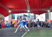 12 May 2018; Bronagh Power Cassidy of DCU Mercy in action against Claire Rockall of Ambassador UCC Glanmire, Cork, during #HulaHoops3x3 Ireland's first outdoor 3x3 Basketball championship brought to you by Hula Hoops and Basketball Ireland at Dundrum Town Centre in Dundrum, Dublin. Photo by Piaras Ó Mídheach/Sportsfile