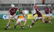 12 May 2018; Tom Spain of Offaly in action against Joe Canning, left, and Conor Whelan of Galway during the Leinster GAA Hurling Senior Championship First Round match between Offaly and Galway at Bord na Mona O'Connor Park in Tullamore, Offaly. Photo by Ray McManus/Sportsfile