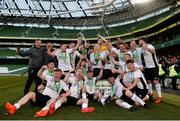 12 May 2018; Maynooth University Town players celebrates with the cup following the FAI New Balance Intermediate Cup Final match between Firhouse Clover and Maynooth University Town at the Aviva Stadium in Dublin. Photo by Eóin Noonan/Sportsfile