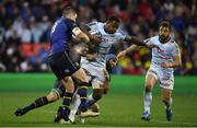 12 May 2018; Virimi Vakatawa of Racing 92 is tackled by Jonathan Sexton and Scott Fardy of Leinster during the European Rugby Champions Cup Final match between Leinster and Racing 92 at the San Mames Stadium in Bilbao, Spain. Photo by Brendan Moran/Sportsfile