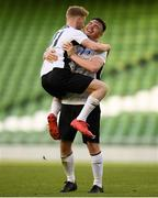 12 May 2018; Darragh Reynor of Maynooth University Town celebrates with Cillian Duffy at the final whistle following the FAI New Balance Intermediate Cup Final match between Firhouse Clover and Maynooth University Town at the Aviva Stadium in Dublin. Photo by Eóin Noonan/Sportsfile