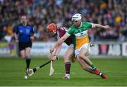 12 May 2018; Brendan Murphy of Offaly in action against Conor Whelan of Galway during the Leinster GAA Hurling Senior Championship First Round match between Offaly and Galway at Bord na Mona O'Connor Park in Tullamore, Offaly. Photo by Ray McManus/Sportsfile