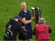 12 May 2018; Leinster senior coach Stuart Lancaster poses with the trophy following the European Rugby Champions Cup Final match between Leinster and Racing 92 at San Mames Stadium in Bilbao, Spain. Photo by Stephen McCarthy/Sportsfile