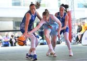 12 May 2018; Bronagh Power Cassidy of DCU Mercy in action against Ambassador UCC Glanmire, Cork, players Casey Grace, left, and Grainne Dwyer during #HulaHoops3x3 Ireland's first outdoor 3x3 Basketball championship brought to you by Hula Hoops and Basketball Ireland at Dundrum Town Centre in Dundrum, Dublin. Photo by Piaras Ó Mídheach/Sportsfile